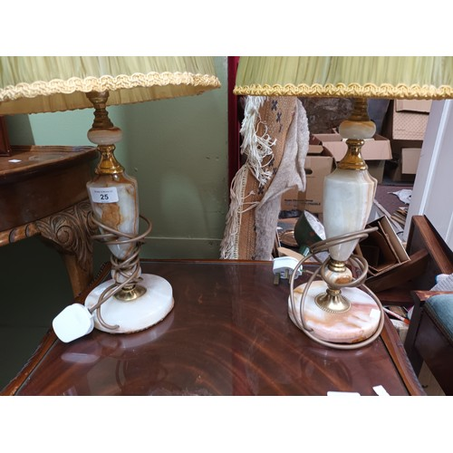 25 - A pair of decorative lamps with vintage shades