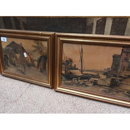 28 - A pair of framed vintage oil paintings