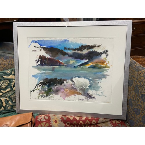 24 - Don McNeil [Scottish] A Large original watercolour titled 'A foam the sea' fitted within a silver co...