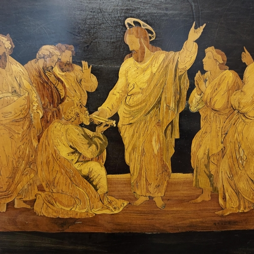 23 - An 19th century Marquetry Jesus and his Disciples wall plaque [48x68cm]