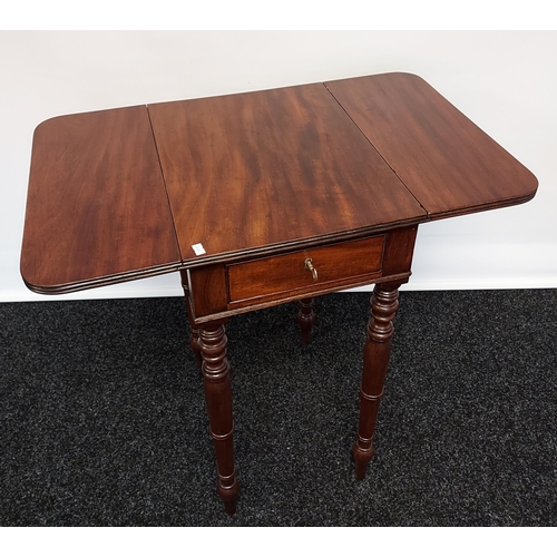 3 - A 19th century drop leaf table with single centre drawer, raised on turned supports [74x74x46cm]