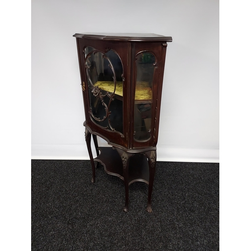34 - An antique Chippendale style ornate corner display cabinet, with wooden floral design to the centre ...