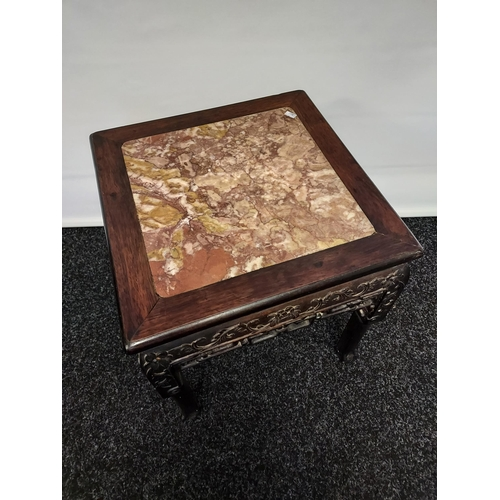 36 - Antique Chinese hand carved side table with marble top above hand carved foliage detail [48x42x42cm]