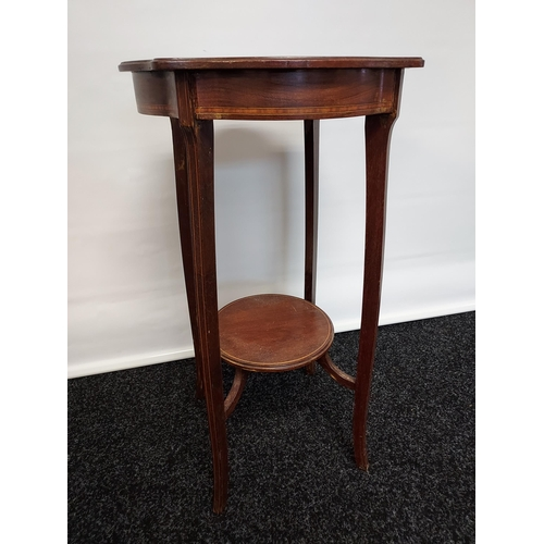 38 - An Edwardian two tier plant stand with a single inlay trim. [64x36x36]
