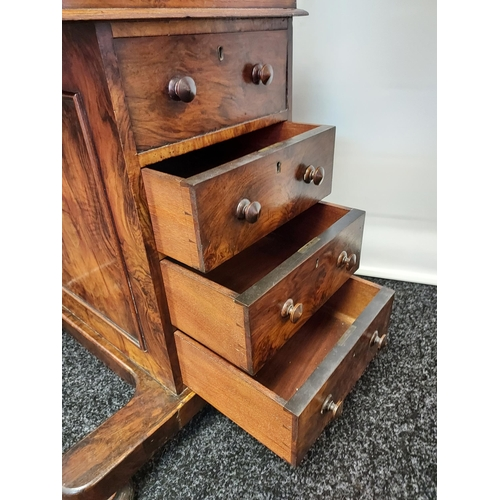 42 - Early 19th century davenport writing desk, with sprung drawer raised section to include a secret ink...