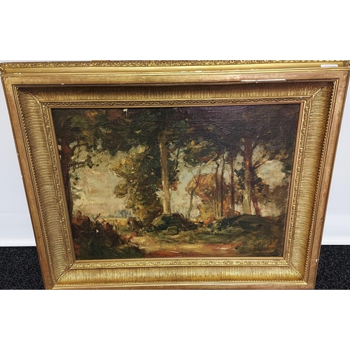 5 - A 19th century Oil painting on canvas depicting woodland scene. Fitted within an ornate gilt frame [...
