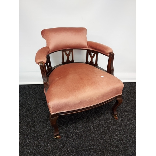 41 - 19th century parlour tub chair, with three centre splats, supported on cabriole legs with brass cast...