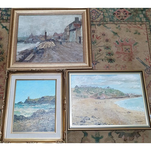 31A - A Collection of Three Oils on Canvas, depicting Coastal Scenes.
