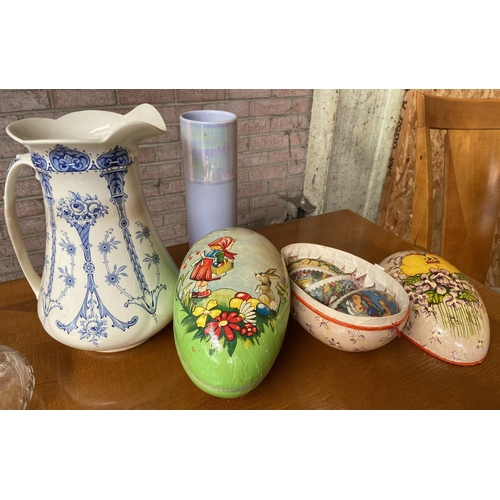 10 - Antique blue and white water jug and paper mache vintage eggs