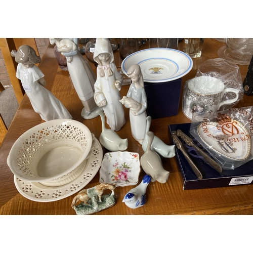 11 - Various collectable porcelain to include nao figurines, Royal Crown Derby pin dish and cat figures e...