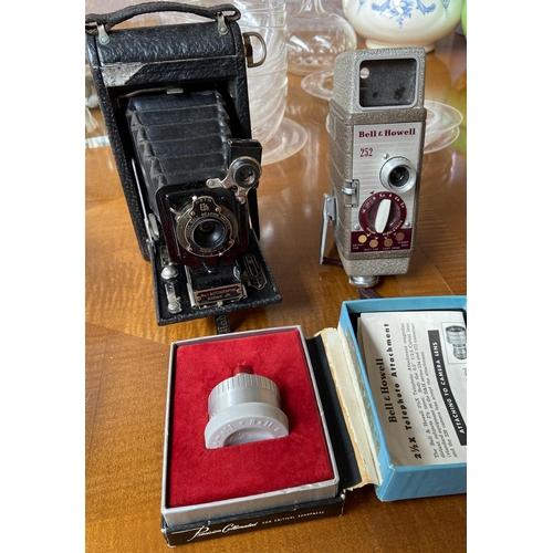 12 - Kodak bellow camera, Bell & Howell cine camera and attachment
