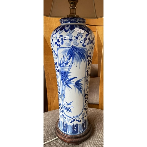 19 - A Blue and white Chinese table lamp. Working.