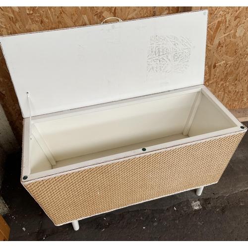 22 - A Vintage Lloyd Loom style blanket box.