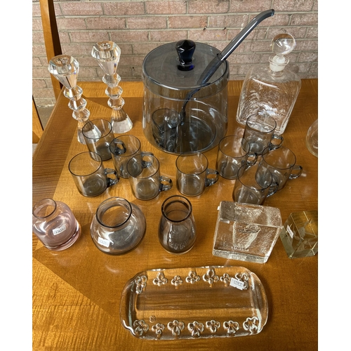 8 - Various art glass and crystal includes punch  bowl with matching cups, vases and decanters.