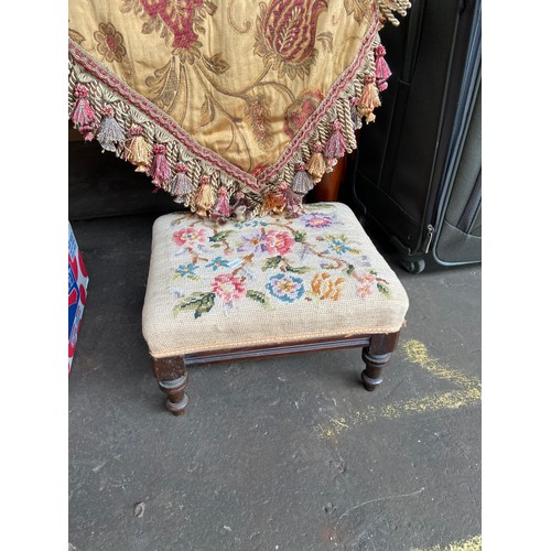 15 - A Large decorative table throw, together with a tapestry top foot stool.