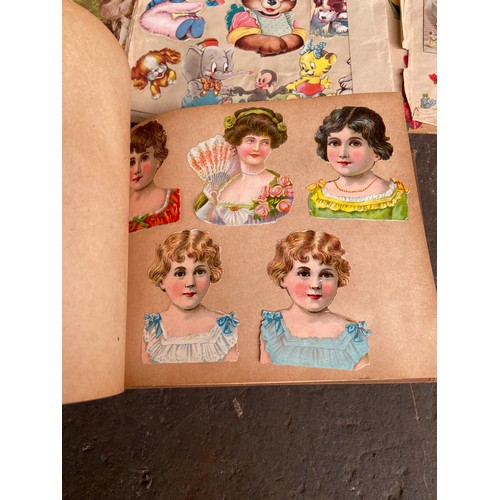 18 - A Collection of vintage scrap books to include crochet motifs book, map, silver book and transfers .