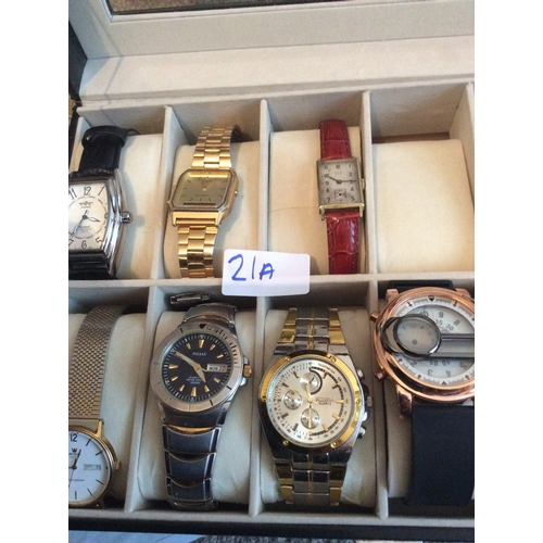 21a - Collection of watches to include acqua , Casio, recordux watch etc....