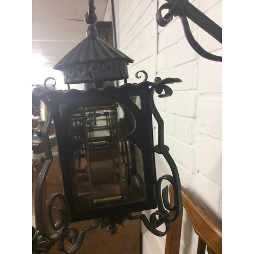 26 - Victorian arts n crafts wall clock with candle lite stand....