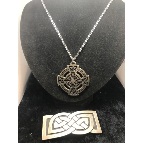 40 - Large Celtic pendant with chain together with Celtic clasp....