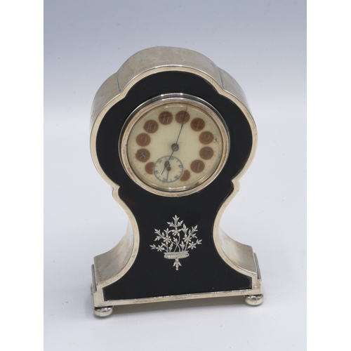 20a - Silver Hall marked birmingham and tortoise shell perpetual clock....