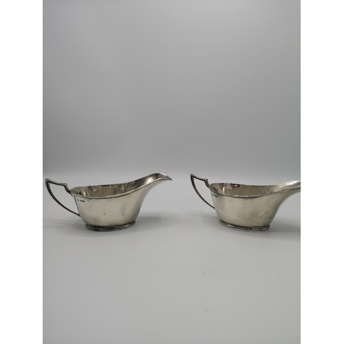 20 - 2 Silver hall marked gravy boats . Makers walker and hall....