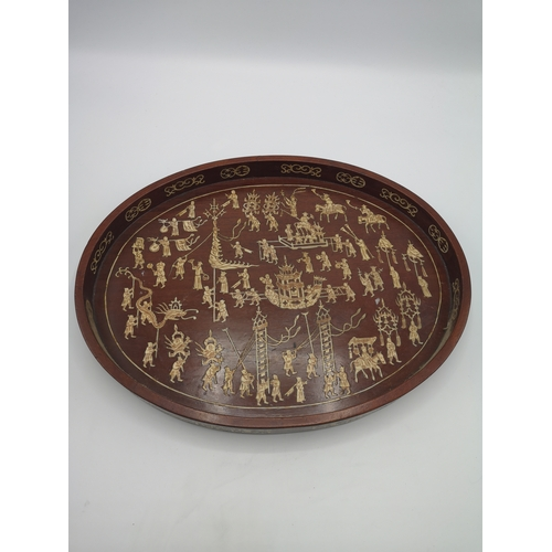 34a - Oriental tray with bone inlays ....