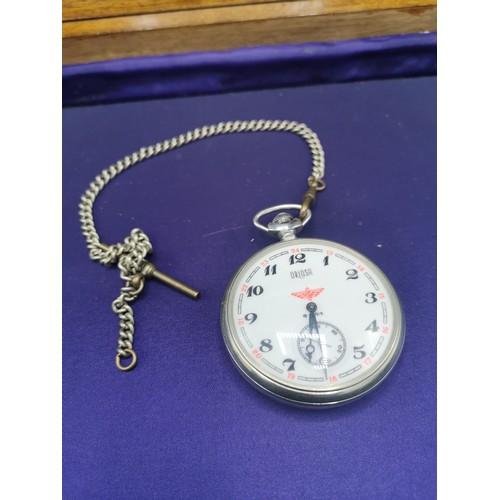 21a - Railway mans presentation pocket watch with albert chain in working order.
