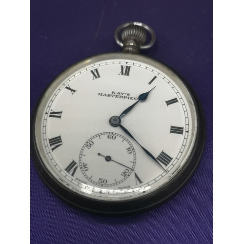 22 - Silver Hall marked kays master piece pocket watch in working order.