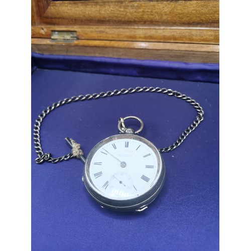 22a - Silver Hall marked pocket watch with albert chain....