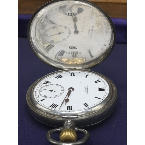 23 - Silver Hall marked pocket watch J. W Benson of London. Working order.