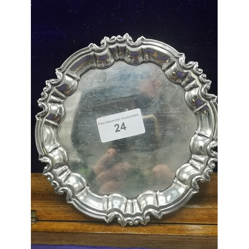 24 - Silver Hall marked sheffield card tray on 3 ball feet. 190 grams. Maker William Hutton & Sons Ltd....