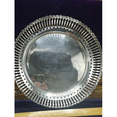 25 - Large silver Hall marked chester pierced bowl markers Colen Hewer Cheshire  380 grams..  Approximate...