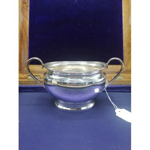 26 - Large heavy silver Hall marked birmingham sugar bowl makers Deykin & Harrison (William Redfern Deyki...