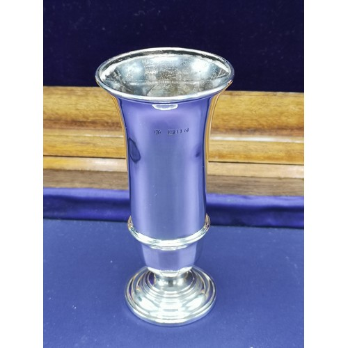 30 - Silver Hall marked London vase maker RC. 4.2 inches in height....