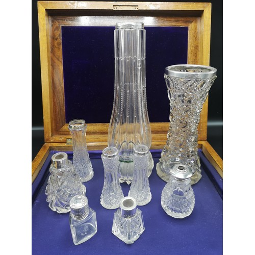 38 - Large collection of silver rimmed bud vases....