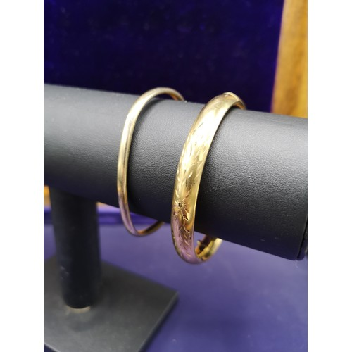 13 - 2 9ct rolled gold bangles 16 Grams....