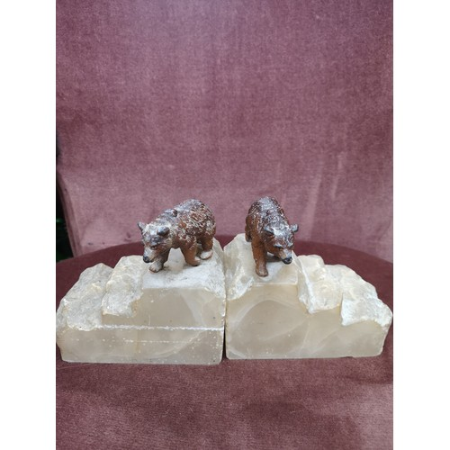 9a - Pair of cold painted bronze bears sat up on pieces of marble.....