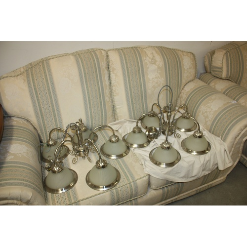 40 - Two Five-Branch Chrome Light Fittings with Opaque Shades...