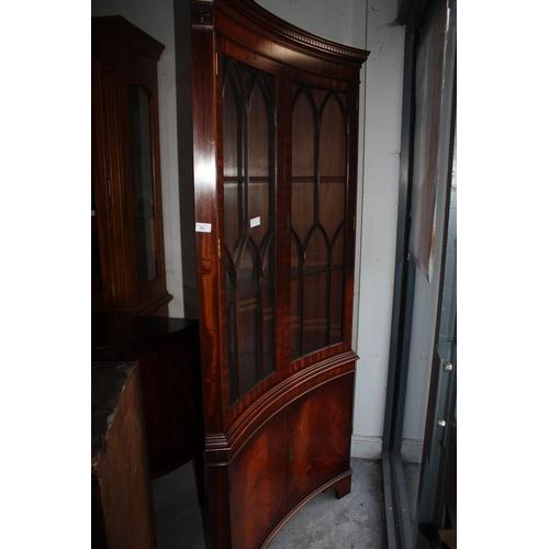 1 - Mahogany Concave Glazed Display Cabinet...