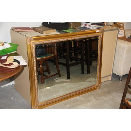 8 - Large Ornately Gilt Framed Beveled Wall Mirror approx 48