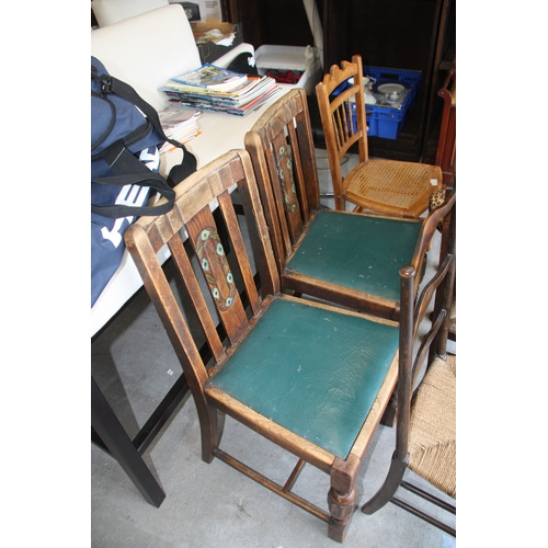 27 - Two Art Deco Dining Chairs (Green Seats and Green Floral Back Panel)...