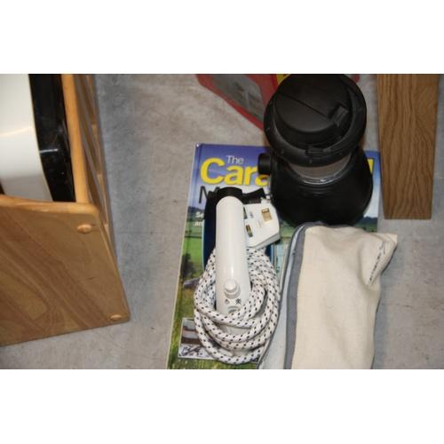 33 - Heyes Caravan Manual, Hurricane Lamp and Two Travel Irons...