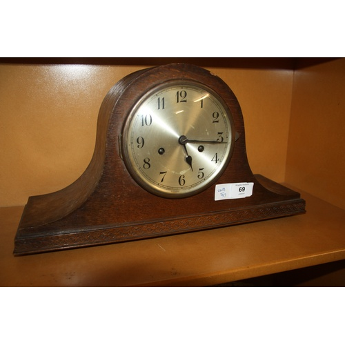 43 - Oak Cased Mantle Clock with Decorative Base...