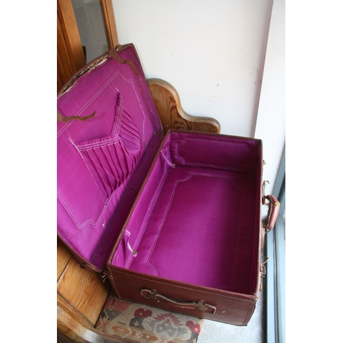 18 - Brown Leather Suitcase with BOAC Cargo label and Purple-Lined Interior (approx 30