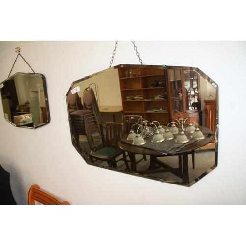28 - Large Art Deco Mirror with Beveled Edge of Angular Design measuring 30