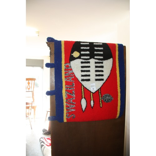 41 - Knotted Wall Hanging depicting a Swaziland Warrior Shield...