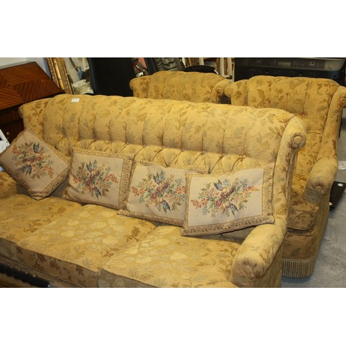 16 - Three Piece Lounge Suite comprising Three-Seater Sofa and Two Chairs...