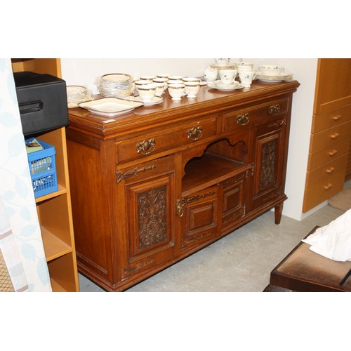 46 - Oak Art Nouveau Dresser Base having Two Carved Side Doors all with Metal Handles and Hinges...