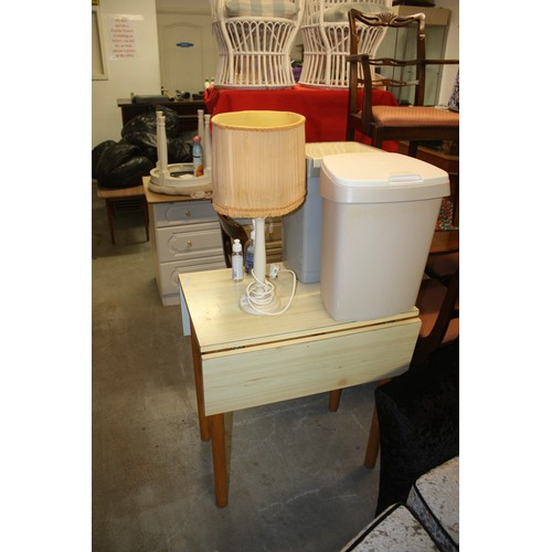 52 - Pair of Oak Dining Chairs (Over-Painted in Cream) Plus a Wooden Stool with Lattice Strap Seat and a ...