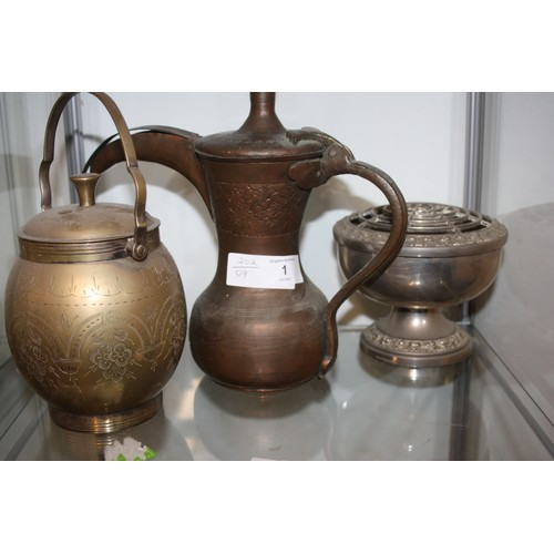 1 - Three Items of Metal-Ware including a Copper Coffee Pot, Rose Bowl and Lidded Jar...